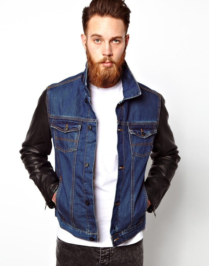 Asos Denim Jacket With Leather Look Sleeves Blue | Where to buy ...