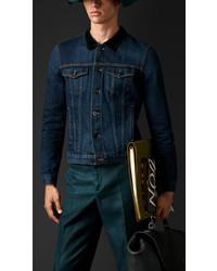 Burberry Denim Jacket With Velvet Topcollar