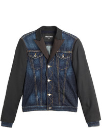 DSQUARED2 Denim Jacket With Wool Silk Sleeves