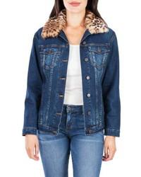 KUT from the Kloth Emma Faux Fur Collar Denim Jacket