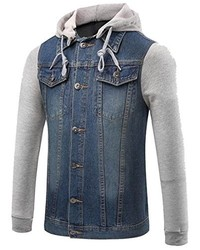 Honey GD Fashion Patched Hooded Drawstring Button Denim Jacket Coat