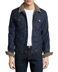 7 For All Mankind Faux Fur Lined Denim Jacket Indigo