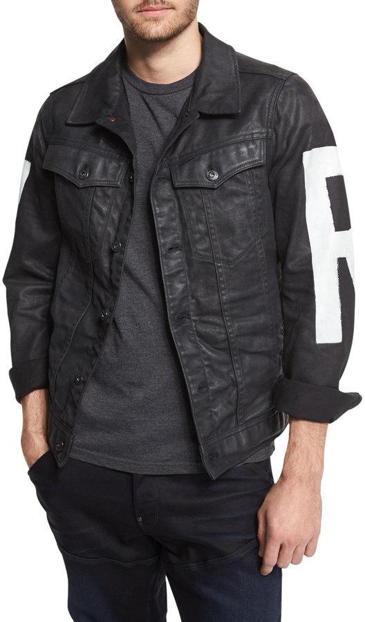 best sneakers 82e46 6d320 $340, G Star G Star Raw Painted Denim Jacket 3d Dark Aged