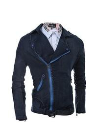 MR. R Lapel Front Slant Zip Up Denim Jacket