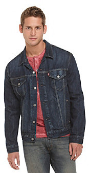 Levi's Levis Dark Blue Relaxed Trucker Gridlock Denim Jacket ...