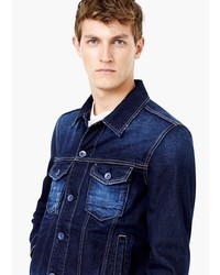 Mango Man Dark Wash Denim Jacket