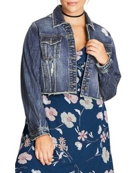 City Chic Raw Edge Crop Denim Jacket