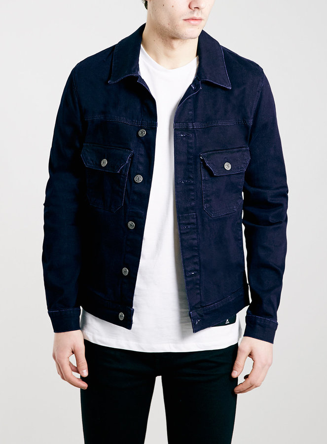 Topman Dark Blue Stretch Skinny Denim Jacket | Where to buy &amp how