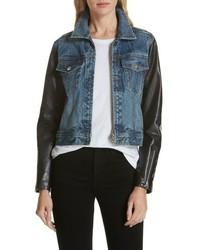 Zip nico denim leather jacket medium 8727051