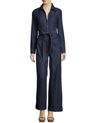 402cfd48a4 ... 7 For All Mankind Long Sleeve Zip Front Denim Jumpsuit Dark Blue