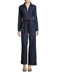 Long sleeve zip front denim jumpsuit dark blue medium 4156566