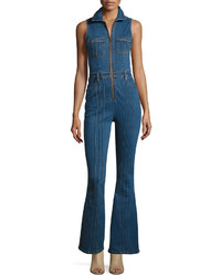 Mink pink pintucked denim jumpsuit blue medium 3756808