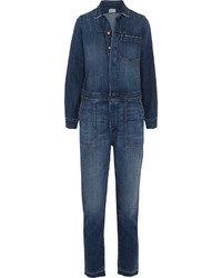 Current/Elliott The Basic Jailbird Denim Jumpsuit Mid Denim