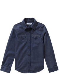 Navy Denim Long Sleeve Shirt