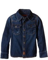 7 For All Mankind Kids Long Sleeve Distressed Denim Button Down Shirt In Dark Indigo