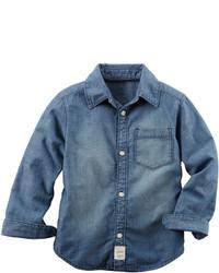 Carter's Carters Long Sleeve Denim Woven Chambray Shirt Boys 4 8