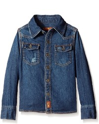 7 For All Mankind Kids Denim Button Front Top