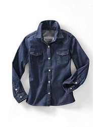 Classic Little Girls Denim Shirt Gray Heather Chevronl