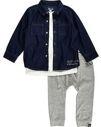 River Island Mini Boys Denim Shirt T Shirt Joggers Outfit