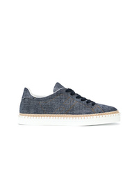 Hogan Denim Logo Low Top Sneakers