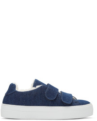 Joshua Sanders Navy Denim Shearling Sneakers