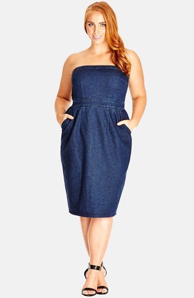 City Chic City Chic Strapless Denim Dress Plus Size Where To Buy