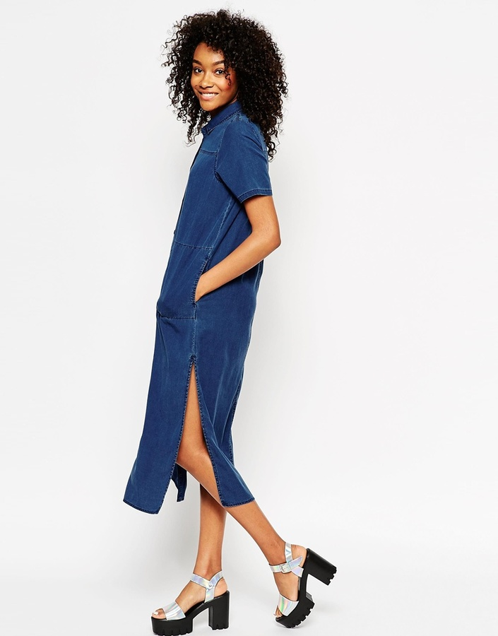 db9c514af2ff Asos Collection Denim Longline T Shirt Dress With Split