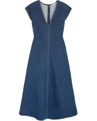 Stella McCartney Ella Stretch Denim Midi Dress Mid Denim