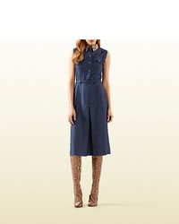 Gucci denim dress with python collar medium 279296