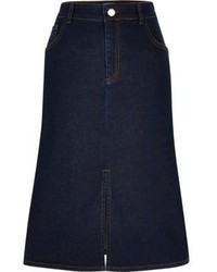 River Island Dark Blue Denim Midi Skirt