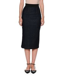 Dolce & Gabbana Denim Fishtail Back Pencil Midi Skirt Indigo