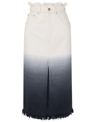 House of Holland Frayed Ombr Denim Midi Skirt
