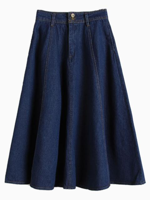 Choies High Waist Denim Midi Skater Skirt In Blue Blue | Where to ...