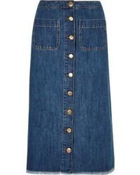 Mid wash denim button down midi skirt medium 3718703