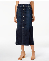 Style co button front midi denim skirt created for macys medium 3718696