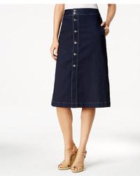 Style co petite button down denim midi skirt created for macys medium 3718702