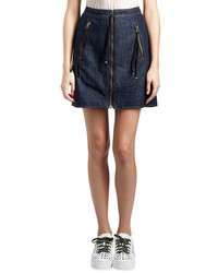 Kenzo Cotton Denim Zip Mini Skirt Dark Blue