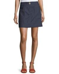 Tory Burch Elise Denim A Line Zip Miniskirt