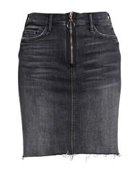 MOTHE R Swooner Exposed Zip Denim Miniskirt