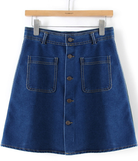 With Pockets Buttons Denim Skirt | Where to buy & how to wear
