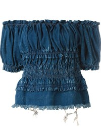 Chloé Off Shoulder Denim Top