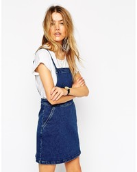 Asos Collection Denim Aline Pinafore Dress In Mid Blue