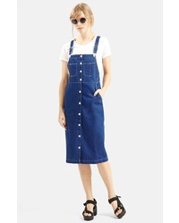Topshop Moto Vintage Wash Midi Pinafore Dress