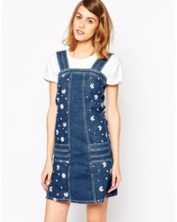 See by Chloe See By Chlo Denim Pinafore With Embroidered Flowers