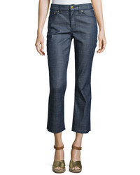 Tory Burch Cayden Denim Crop Pants Rinse Wash