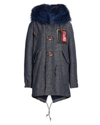 MR AND MRS ITALY Mr Mrs Italy Denim Parka With Genuine Fox
