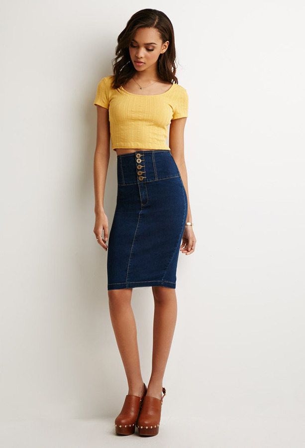 Forever 21 High Waisted Denim Pencil Skirt | Where to buy & how to ...