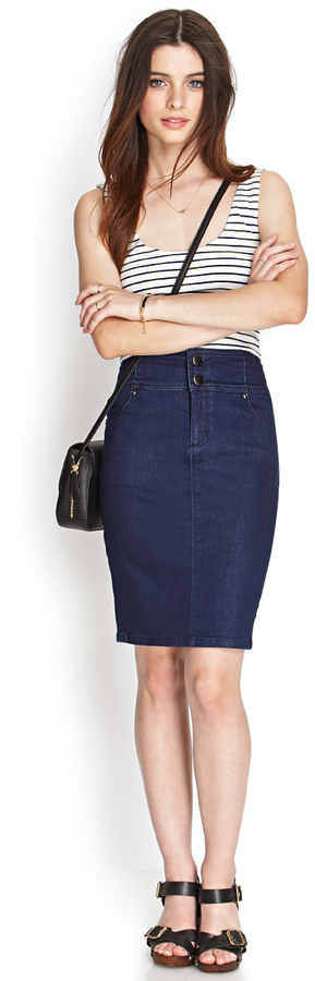 Forever 21 High Waisted Denim Skirt Where To Buy How To Wear