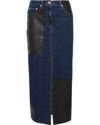 Mcq alexander mcqueen faux leather paneled denim midi skirt mid denim medium 5084057