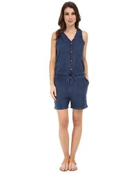 DKNY Jeans Knit Denim Romper In Victory Wash